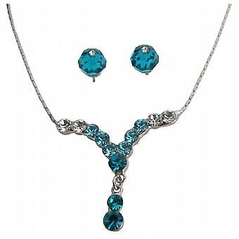 Bal lub ukończeniu Dazzling Blue Zircon kryształ naszyjnik zestaw