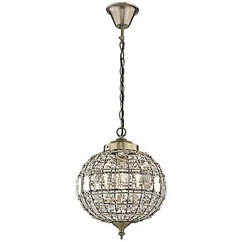 Spring Lighting - Craven Arms Small Antique Brass Round Chandelier With Crystals  GJOD031BC1TUBU