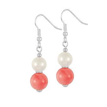 Eternal Collection Duet Coral & Shell Pearl Drop Sterling Silver Drop Pierced Earrings