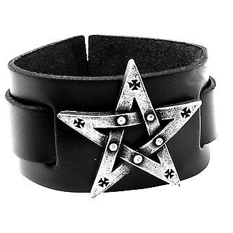 Alchemy Gothic Pentagration Leather Bracelet