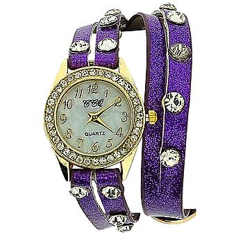 TOC Ladies Crystal Studded Extra Long Purple Glitter Strap Dress Watch SW1096
