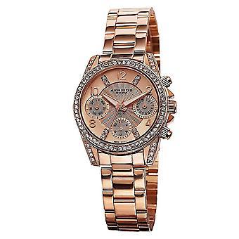 Akribos XXIV femmes quartz suisse diamant-accentués bracelet multifonction montre AK710RG