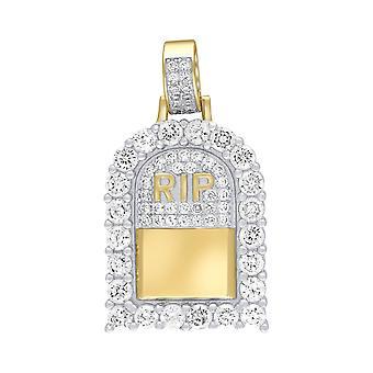 Prêmio bling-925 Sterling Silver mini pingente R. I. P ouro