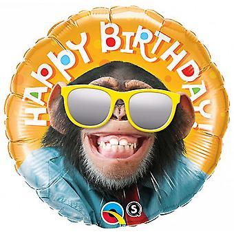 Qualatex runda 18 i födelsedagen leende Chimp folie ballong