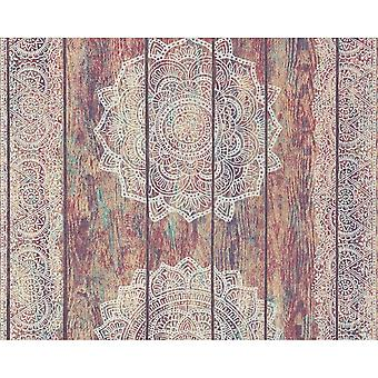 A.S. Creation As Creation Paisley Print Textured Floral Non-Woven Faux Wood Panel Wallpaper 364621