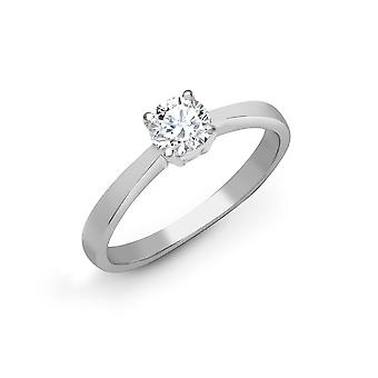 Jewelco London Ladies Solid 18ct Bianco Oro 4 Claw Set Round G SI1 1ct Diamond Solitaire Engagement Ring