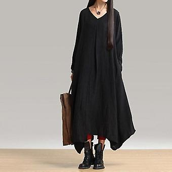 Unregelmäßige Saum lange Kleid V-Ausschnitt Maxi Langarm Kleid