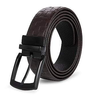 Allthemen Men's Belt Business Both Sides Available Reversible Pin Buckle Leather Belt
