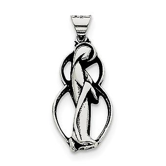 925 Sterling Argento Solido lucido Antiquariato finire Mary Charm - 3.5 Grams