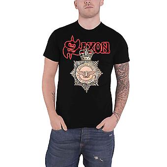 Saxon T Shirt Strong Arm Of The Law Band Logo new Official Mens Black