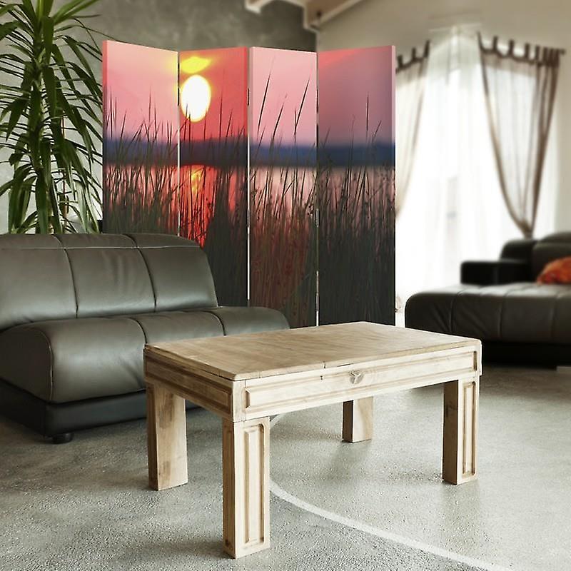 Diviseur de chambre, 4 panneaux, toile, coucher du soleil sur le lac