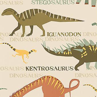 Dinoszaurusz tapéta természetes és zöld AS Creation 93633-10