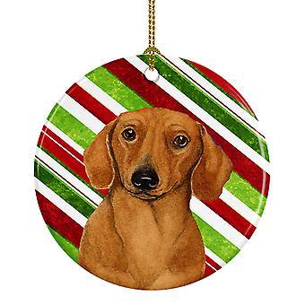 Bastón de caramelo de Dachshund vacaciones Navidad adorno cerámica LH9222