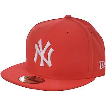 New Era Hombres New York Yankees 59FIFTY Flat Brim Baseball Cap Sombrero - Rojo