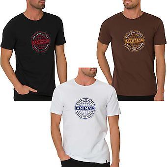 Animal Mens fornitura casual short Sleeve Equipaggio Collo Cotone T-Shirt Top