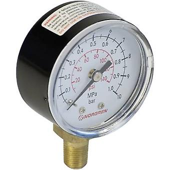 Norgren Manometer 18-013-013 Connector (pressure gauge): Back side 0 up to 10 bar External thread R1/8 1 pc(s)