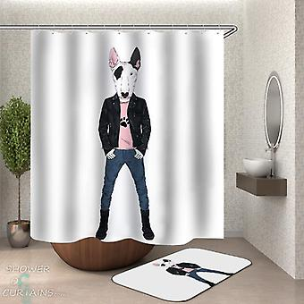 Tough Pitbull Dog Shower Curtain