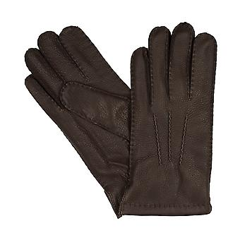 Luvas homens LLOYD luvas de veado mão de couro costurado Brown 8372