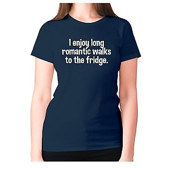 Womens funny t-shirt slogan tee ladies novelty humour - I enjoy long romantic walks to the fridge