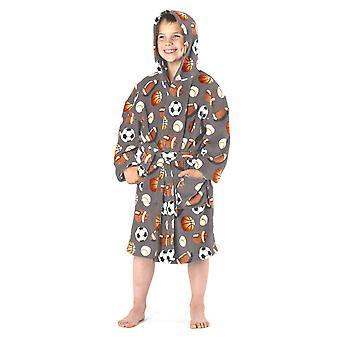 Boys Hooded Sport Design Soft Fleece Dressing Gown Nightwear Bathrobe 3-4 Yrs Grey