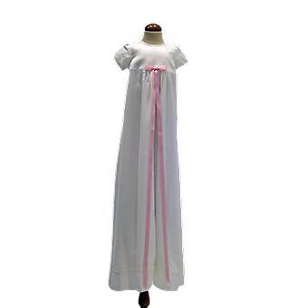 Dopklänning Grace Of Sweden, Stilren Med Ljusrosa Rosett  Pr.ka
