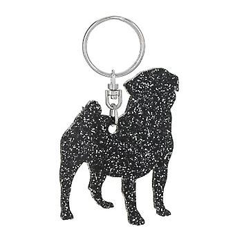 Black Pug Style 3 Glitter Acrylic Keyring