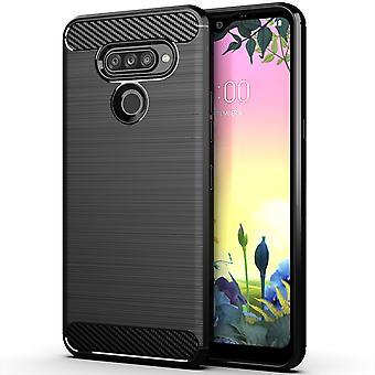 LG K50S TPU Case Carbon Fiber Optics geborsteld beschermende Sleeve zwart