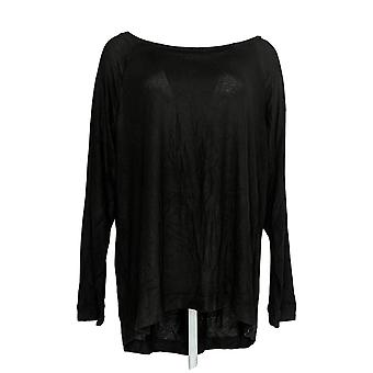 Anybody Women's Top Brushed Hacci Relaxed Fit Black A292753