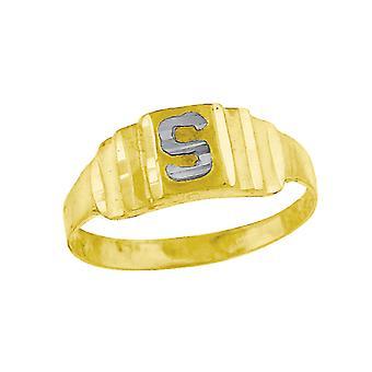 10k Deux tonalitéS Gold bébé pour les garçons ou les fillesNom personnalisé Monogramme Initial S Band Ring Measures 6.3x2.50mm Wide S