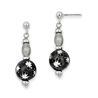 925 Sterling Silver Black Rhodium and Sparkle Cut Bead Post Long Drop Dangle Earrings Jewelry Gifts for Women