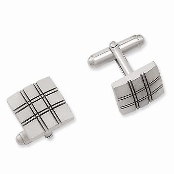 Solid Satin Gift Boxed Rhodium plated Square Double Lines Cuff Links Jewelry Gifts for Men