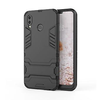 HATOLY iPhone XS - Robotic Armor Case Cover Cas TPU Case Black + Kickstand