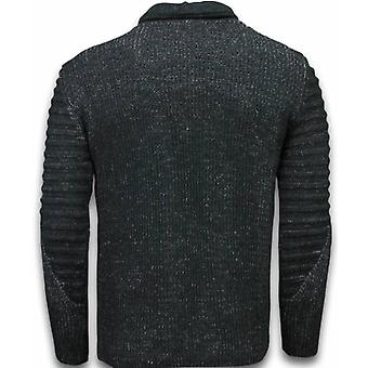 Knitted Mens sweater-Exclusive Shawl collar zipper-Black