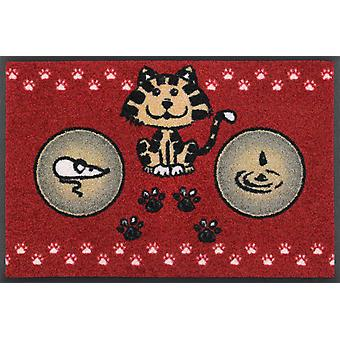 wash+dry Fußmatte Katzenmahlzeit rot 40 x 60 cm kleine Napfunterlage