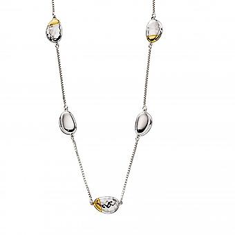 Fiorelli Silver Sterling SilverPebble Station Hammered Yellow Gold Plating Necklace N4370