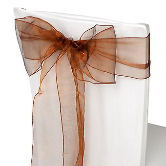 17cm x 274cm Organza Table Runners Wider & Fuller Sashes Chocolate