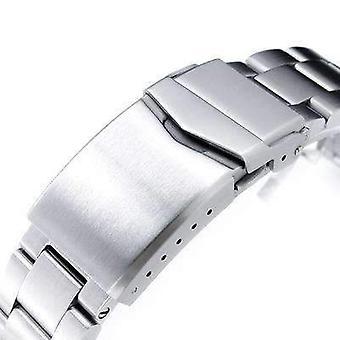 ストラップコード腕時計ブレスレット20mmスーパー3dオイスター316lステンレススチールウォッチブレスレットセイコー機械自動サルブ333、vクラスプ、ブラシ