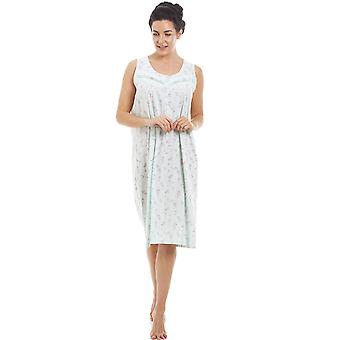 Camille Mint sans manches Floral Nightdress