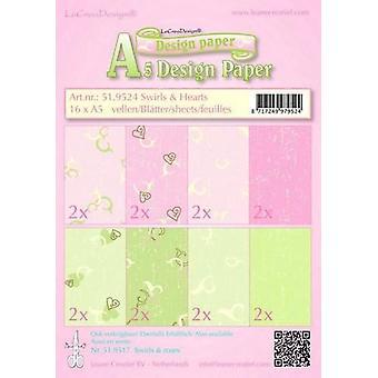 LeCrea Design A5 Paper - Swirls & Hearts Pink/Green (16 Sheets)