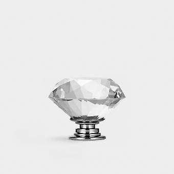 Crystal Door Knob - Clear / Silver - Diamond - 40mm