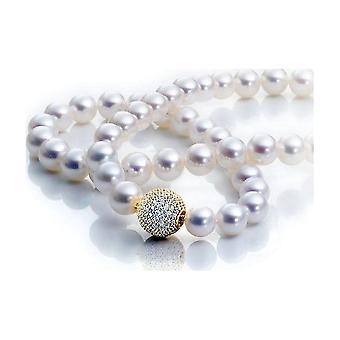Luna-Pearls Pearl Collier Zoetwater 8.5-9mm 925 Zilver Vergulde Zirconia 1063907