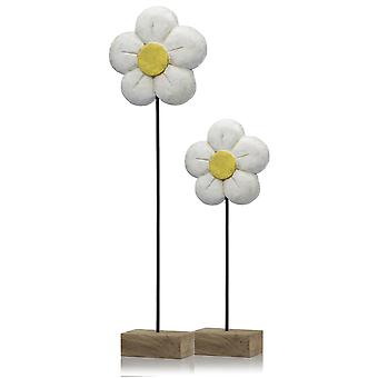 "4"" x 8"" x 21"" Natural and Black White Small Daisy on Stand"