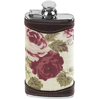 Orton West 4oz Slimline Rose Captive Top Hip Flask - Kahverengi/Krem/Pembe