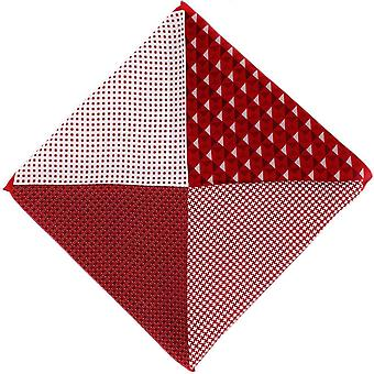 Michelsons of London 4 Pattern Silk Pocket Square - Red