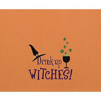 Drink Up Witches! Funny Halloween Orange Waffle Weave Kitchen Towel
