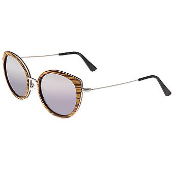 Earth Wood Oreti Polarized Sunglasses - Zebrawood/Purple