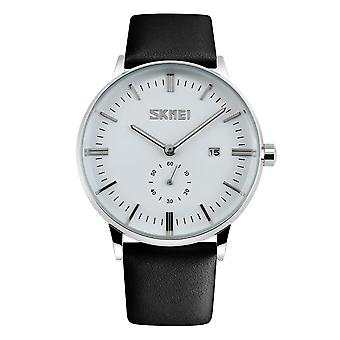 Skmei Mens White Classic Watch Genuine Leather Strap Date Display SK9083