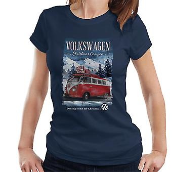 Volkswagen Christmas Camper Driving Home Women's T-Shirt