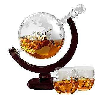 Carafe with Two Glasses - Ship in Globe