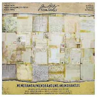 Idea-ology Tim Holtz Paper Stash Memoranda 36 Sheets